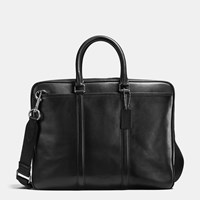 Coach Metropolitan Brief In Sport Calf Leather Black Antique Nickel Black