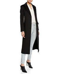 Fleurette Wool Three Button Maxi Coat Black