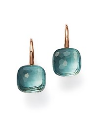 Pomellato Nudo Earrings With Blue Topaz In 18K Rose And White Gold Blue Rose