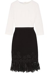 Oscar De La Renta Lace Trimmed Wool Crepe Dress White