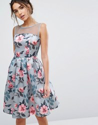 Chi Chi London Floral Print Midi Dress In Sateen Blue Floral Multi