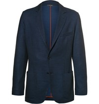 Loro Piana Blue Slim Fit Cotton And Virgin Wool Blend Pique Blazer Navy
