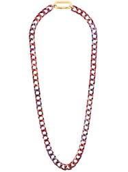 Isabel Marant Chunky Chain Link Necklace Pink Purple