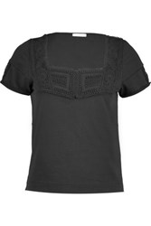 See By Chloe Crochet Trimmed Cotton Jersey T Shirt Black
