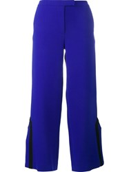 Osman Contrast Trim Side Slit Trousers Blue