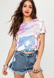 Missguided Petite Pink Extreme Sequin Top