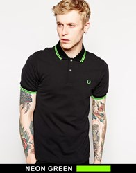Fred Perry Soho Neon Polo With Neon Green Tipping Slim Fit Black
