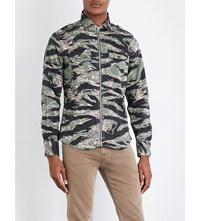 Replay Camo Print Cotton Blend Shirt Beige Green Black Delave