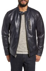 Lamarque Leather Racer Jacket Navy
