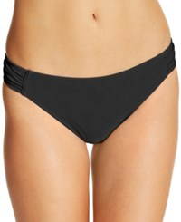 California Waves Ruched Side Tab Bikini Bottoms Women's Swimsuit Black