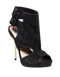 Betsey Johnson Rhinestone Studded Platform Sandals Black