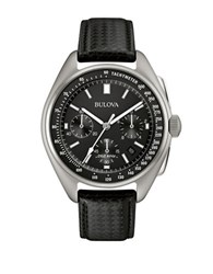 Bulova Moon Stainless Steel And Leather Basketweave Strap Watch Silver