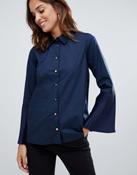 Closet London Pleated Cuff Shirt Navy