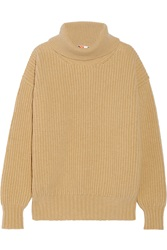 Msgm Ribbed Wool And Cashmere Blend Turtleneck Sweater Brown