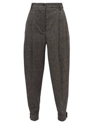 Burberry Belted Ankle Wool Blend Tapered Trousers Dark Grey