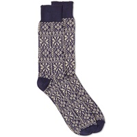 Oliver Spencer Fair Isle Sock Navy And Sand