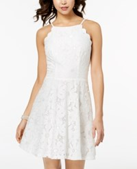 Amy Byer Bcx Juniors' Scalloped Daisy Lace Fit And Flare Dress Off White