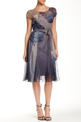 Komarov Short Sleeve Sheer Scoop Neck Peony A Line Dress Gray