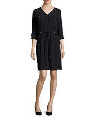Ellen Tracy Pleated Three Quarter Sleeve Shift Dress Black