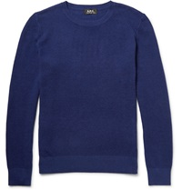 A.P.C. Waffle Knit Cotton And Cashmere Blend Sweater Blue