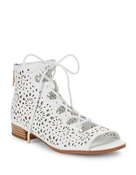 Imnyc Isaac Mizrahi Lonnie Leather Open Toe Lace Up Boots White