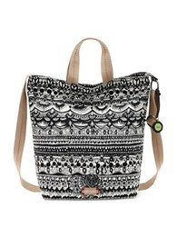 Sakroots Artist Circle Campus Tote Black White