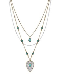 Lucky Brand Baltic Wonders Reconstituted Calcite And Rock Crystal Layered Necklace Turquoise