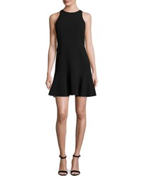 Theory Felicitna Crepe Fit And Flare Dress Black Classic Wht