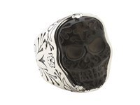 King Baby Studio Carved Jet Day Of The Dead Skull In Silver Frame Ring Silver Black Ring Gray