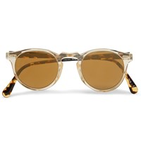 Oliver Peoples Gregory Peck Round Frame Acetate Mirrored Sunglasses White