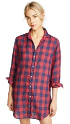 Frank And Eileen Mary Shirtdress Large Red Navy Check