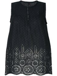 Marc Cain Crocheted Loose Flared Blouse Black