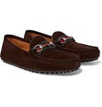 Gucci Webbing Trimmed Horsebit Suede Loafers Dark Brown