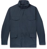 Loro Piana Traveller Windmate Storm System Shell Hooded Field Jacket Blue