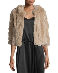 Halston Cropped Rabbit Fur Cape Champagne