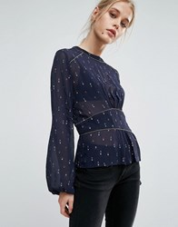 Pepe Jeans Louise Ruched Waist Printed Blouse Navy