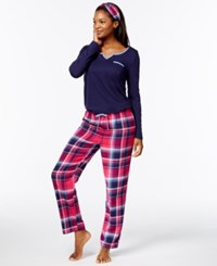 Nautica Flannel Trimmed Pajama Set Berry