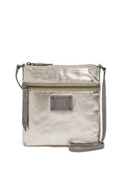 Frye Ivy Metallic Crossbody Bag Pewter