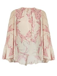 Giambattista Valli Cape Back Snowdrop Print Silk Georgette Blouse Light Pink