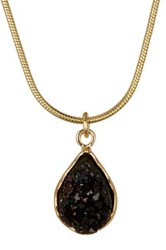 14Th And Union Teardrop Druzy Pendant Necklace Black