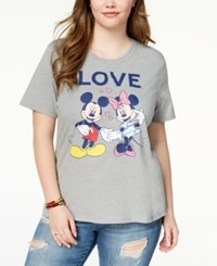 Mighty Fine Plus Size Minnie And Mickey Mouse T Shirt Grey
