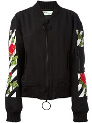 Off White Roses Logo Bomber Jacket Black