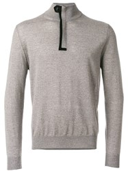 Canali Zip Up Roll Neck Sweatshirt Nude And Neutrals