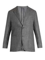 Ermenegildo Zegna Single Breasted Silk Blend Blazer Grey