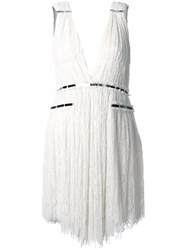 Jay Ahr Silver Tone Detail V Neck Dress White