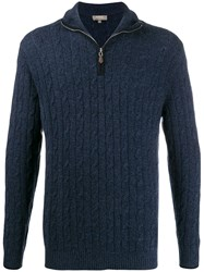 N.Peal Cable Knit Cashmere Sweater Blue