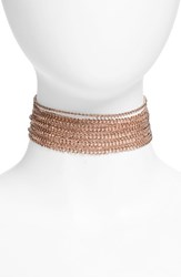Topshop Women's Multi Row Chain Choker Rose Gold
