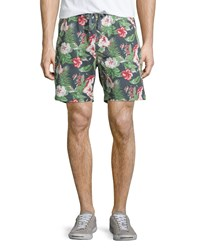Jachs Floral Print Drawstring Shorts Green Multi