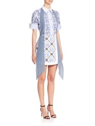 Mary Katrantzou Hayward Blue Print Tie Neck Dress Toile De Jouy Blue