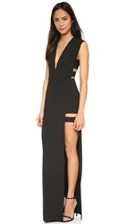 Mason By Michelle Mason Cage Plunge Gown Black